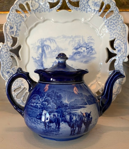 1904 Transferware Cobalt Flow Blue Teapot Highland Cattle Scottish Sheep