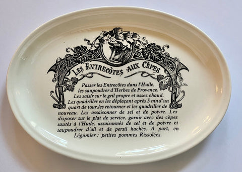 Les Entrecôtes Aux Cépes Cow Bovine Black Transferware Platter French Advertising