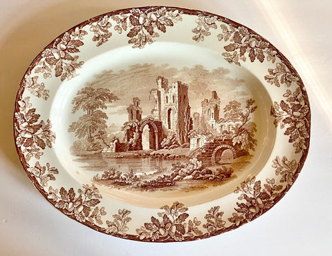 1880 Copeland Spode Brown Transferware Platter Oak Leaves Acorns Castle Ruins
