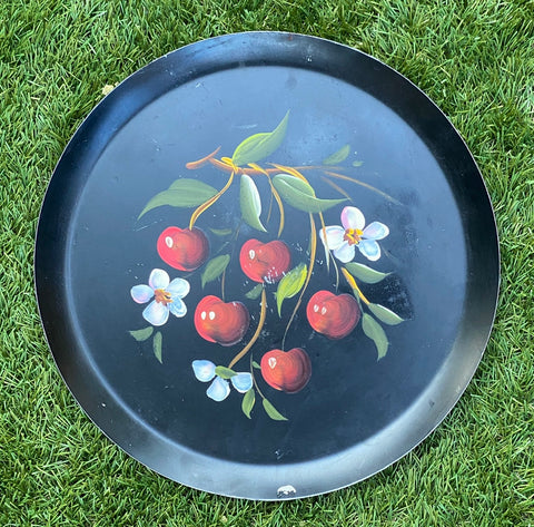 Vintage Hand Painted Round Black Tole Tray Toleware w/ Cherries