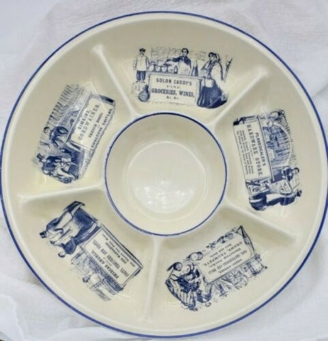 Blue & White Advertising English Ironstone 6 Section Hors d'oeuvre Appetizer Tray French Boots / Cheeses /  Butcher Counter Display