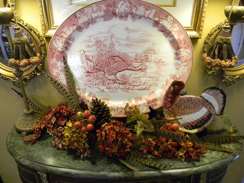 "21"" Vintage Huge Pink Red Transferware Thanksgiving Dinner Tom Turkey Platter  English Ironstone Turkey Platter Enoch Woods  Circa 1930's"