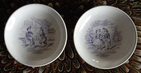 Pair Antique Early Staffordshire Lavender Transfer Printed Pearlware Childrens Toy Plates Juvenile Sports / Childrens Games Godwin / Minton