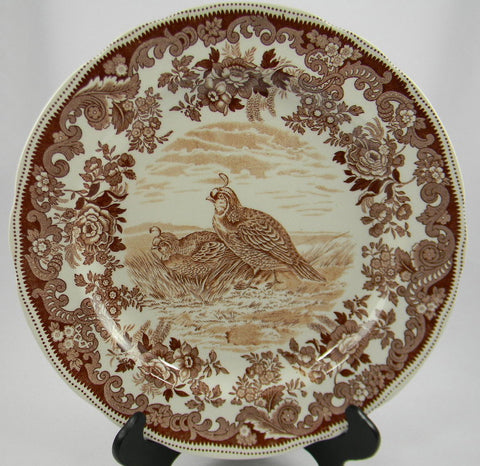 Spode Copeland Antique Brown Transferware Game Bird Plate California Quail No 3