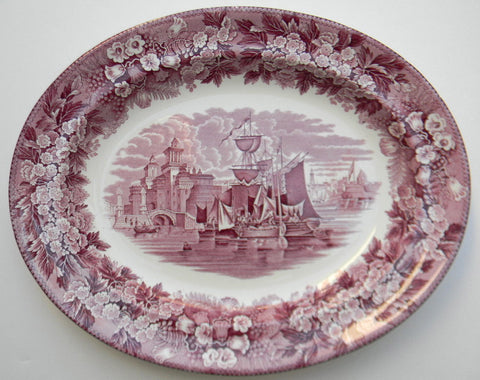Wedgwood Ferrara Purple Transferware Platter Ancient Italian Po River Ship Scene