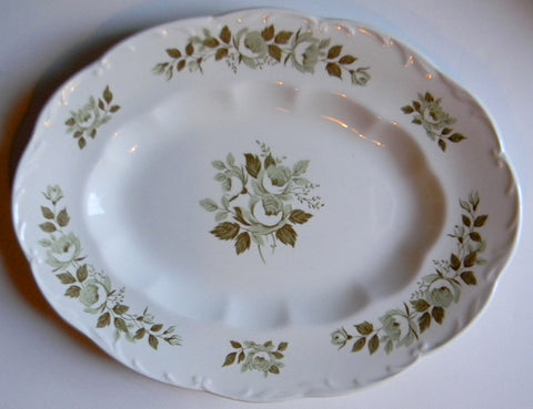 Vintage Sage / Olive Green Transferware Chantilly Roses Vintage English Platter can be displayed vertically or horizontally
