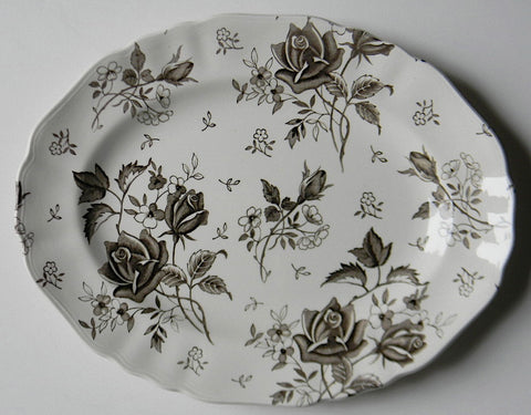 Dark Chocolate Brown Tudor Roses Rosebuds Vintage English Transferware Platter