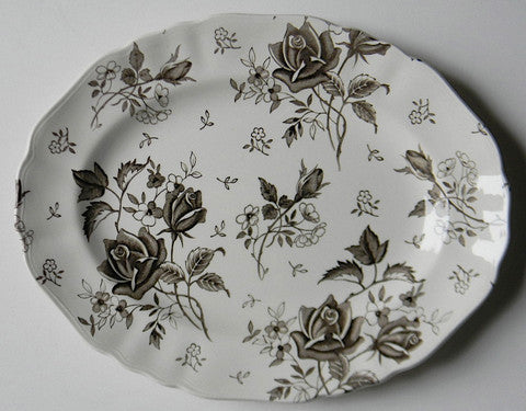 Large Dark Chocolate Brown Tudor Roses Rosebuds Vintage English Transferware Platter