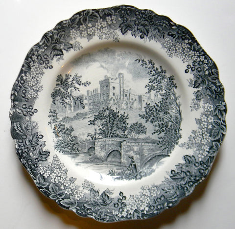 Black ish Gray Toile Plate English Transferware Bridge Castle Horseman Fisherman Haddon Hall