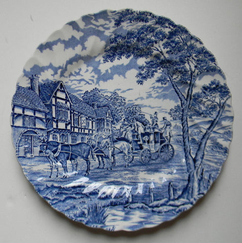 Blue & White Toile Plate English Transferware Bridge Horses Stagecoach English Inn