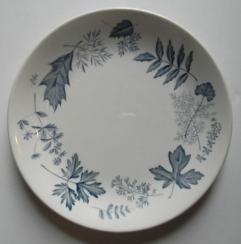 Vintage English Transferware Botanical Plate Slate Blue Autumn Leaves Leaf Woodland Plate