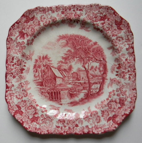 Red Pink Vintage English Transferware Square Plate Bucolic Mill Stream Roses