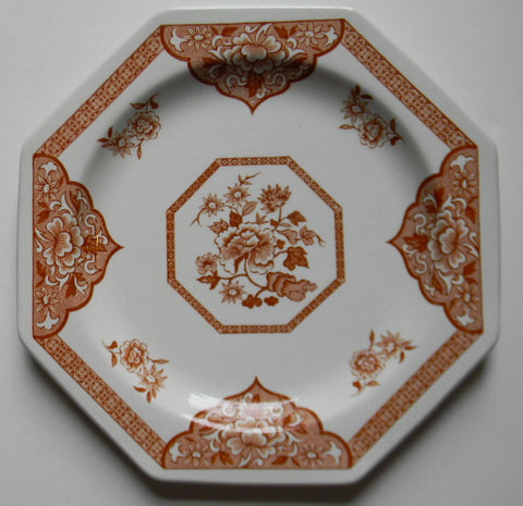 Rust Brown Transferware Octagon Shaped Plate Floral Chinoiserie Asian Toile