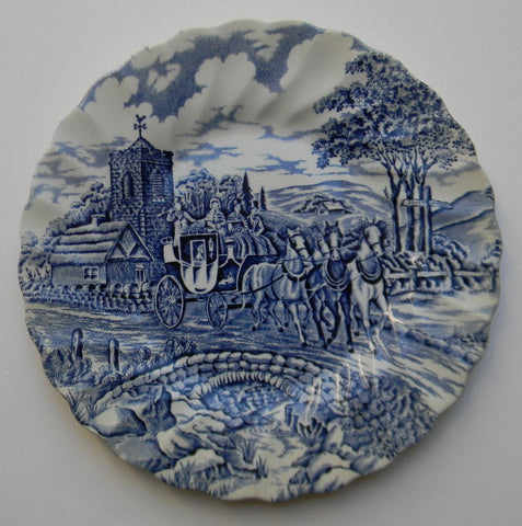 Blue & White Toile Plate English Transferware  Bridge Horses Stream Weathervane