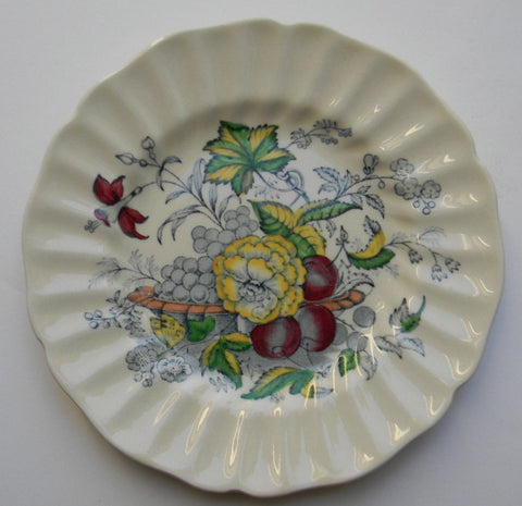 English Transfer Ware Blue Polychrome Plate Royal Doulton Fruits Flowers Butterfly