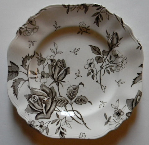 Dark Brown Square Plate Tudor Roses Rosebuds Vintage English Transferware Toile Flowers