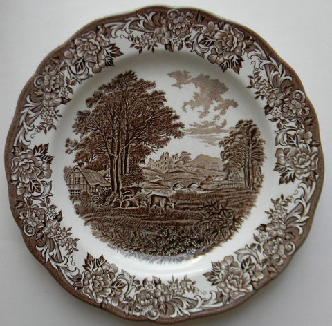 Brown Transferware Plate Cattle Scene Romantic England Grazing Cattle Roses Thatched Cottage