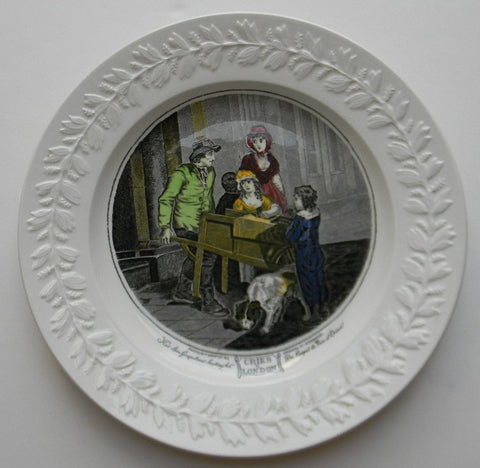 Black Transferware Charger Plate Cries of London Hot Spice Gingerbread Francis Wheatley