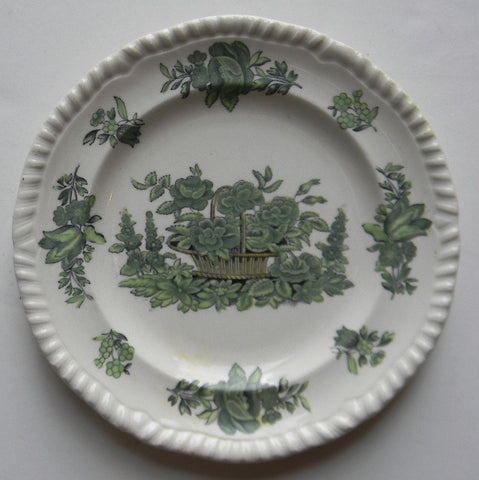 Spode Copeland Black Transferware & Green Plate Basket of Flowers Tulips Roses
