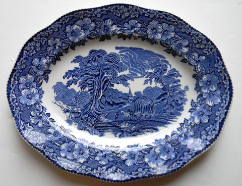 Wedgwood Blue English Transferware Platter Gathering Hay Harvest Roses Pastoral Farm