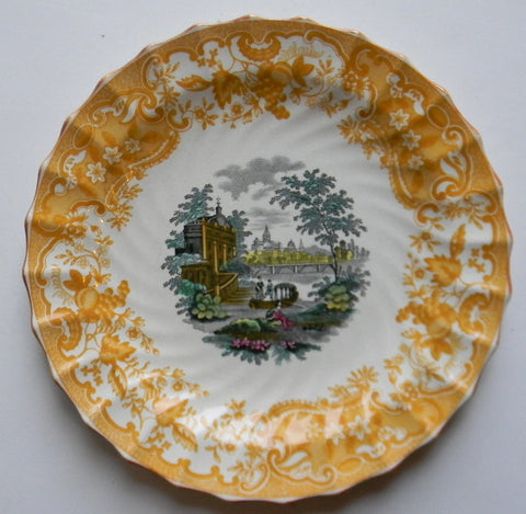 Vintage Spode China Yellow  Transferware Plate May Urn Roses Italian Garden Scenery Two Color Transferware