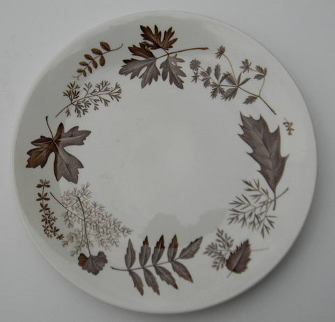 Vintage Brown English Transferware Plate Botanical Autumn Leaves Leaf Woodland Plate