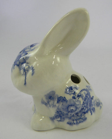 Vintage Blue and White China Transferware Bunny Rabbit Crown Devon Toothbrush or Pen Holder Charlotte