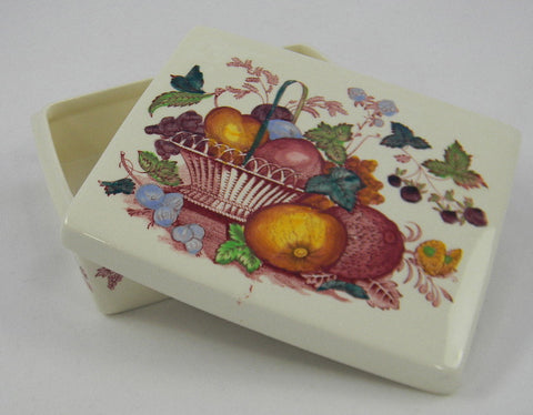 Red Polychrome English Transferware Lidded Cigarette Box Jewelry Box Fruit Basket Hand Painted Fruits