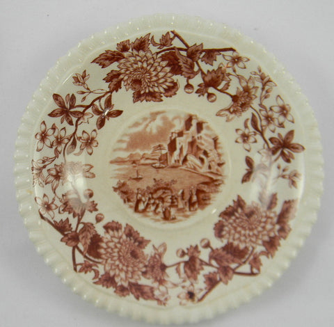 Vintage Spode Aster Brown Transferware Canape' Plate Copeland Beverley Italian Countryside