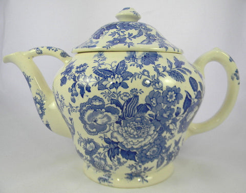 "Huge 16"" Gallon Size Vintage Blue Transferware Teapot Salesman Sample Asiatic Pheasants Maling Pheasants Birds Roses"
