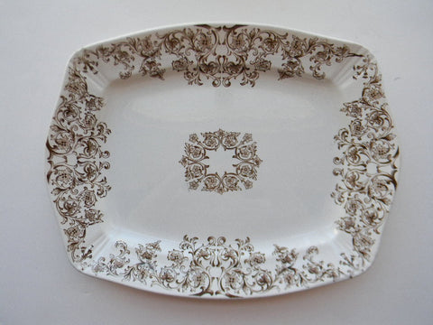 Large Aesthetic Movement Brown Transferware Platter Empress Victorian Pottery Staffordshire China England Scrolls & Vines