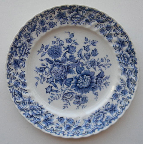 Ridgway Blue Transferware Toile Plate  Victorian Floral China Bouquet of Flowers Romantic Staffordshire