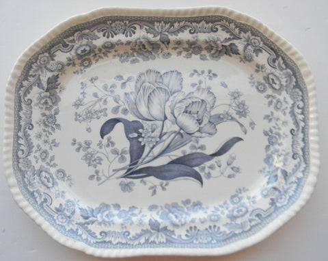 Slate British Flowers Blue Gray Copeland Spode Mayflower Tulips Botanical English Transferware Platter