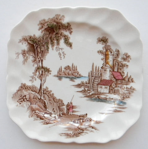 Vintage Brown Transferware Plate Square Plate Mill Stream Picnic English China