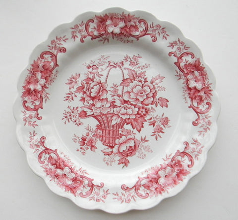Vintage Ridgways English China Red Transferware Bread / Dessert Plate Victorian Basket of Roses