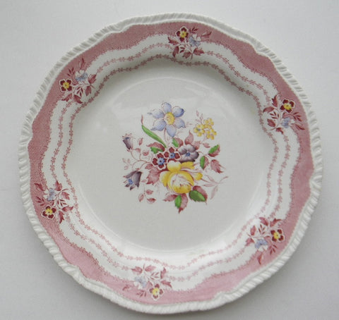 Vintage English Pink / Red Transferware Deep Plate Bowl Hand Painted Victorian Bouquet of Flowers Ridgway Rutland