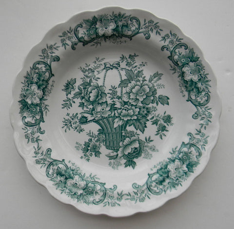 Teal Transferware Shallow Bowl / Deep Plate Victorian Basket of Roses English Country Farmhouse Decor Ridgway Bouquet