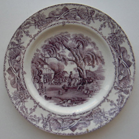 "Vintage Aubergine Purple Transferware 8"" Salad Plate Rural Scenes Hunter Ducks Stream Horses Tavern"