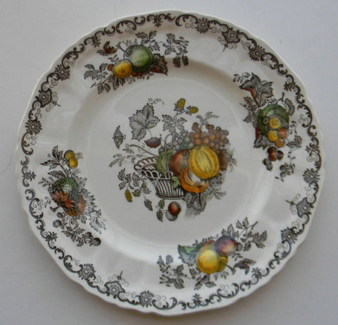 Dark Brown English Transferware Plate with Hand Painted Fruits in a Basket Autumn Colors
