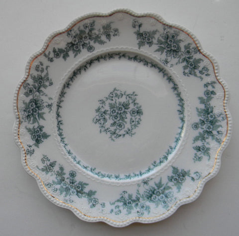 "Antique Teal 10"" Transferware Plate Victorian Florals Roses Daisies & Vines Grindley Eileen"