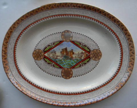 HUGE Antique Aesthetic Movement Transferware Platter Brown Polychrome Geometric Medallions Castle Scenery Brownfield & Sons