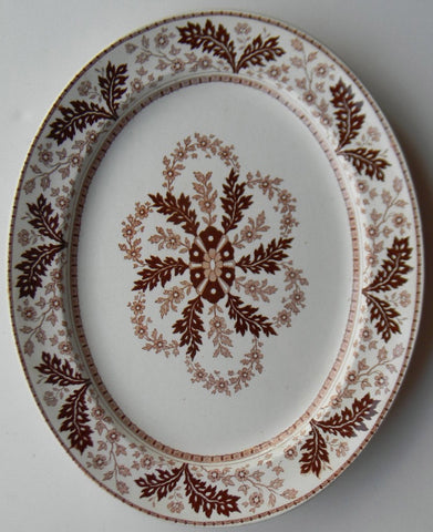 Aesthetic Movement Antique Brown Transferware Platter Ridgways Deak Floral and Leaf Circa 1880's