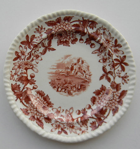 Brown Transferware Plate Spode Copeland Beverley Aster Border Italian Countryside