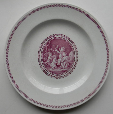 Vintage Wedgwood Valentines Day Purple Transferware Plate Cherubs Children Playing Musical Instruments