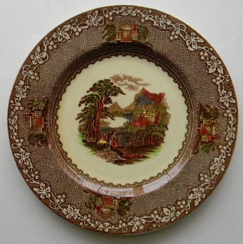 Brown Polychrome Transferware Plate Jenny Lind - Mountain & Castle Scenery - Royal Staffordshire - Hand Painted