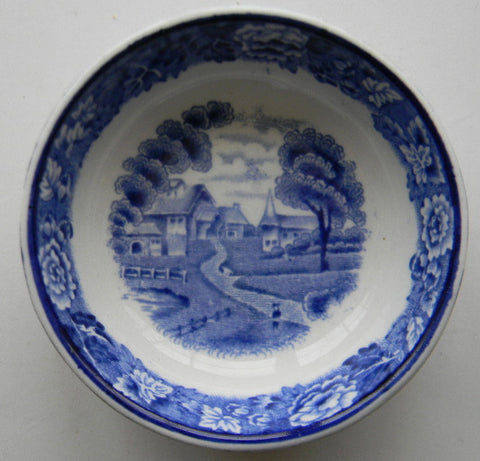 Blue & White China Transferware Staffordshire Salt Cellar Butter Dip 13 sided  English Scenery Wood and Sons