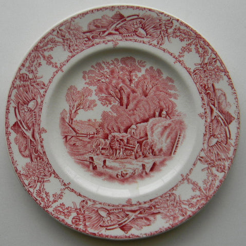 Rural Scenes Red Transferware Plate Chickens Horses Haywagon Farm Bee Skep