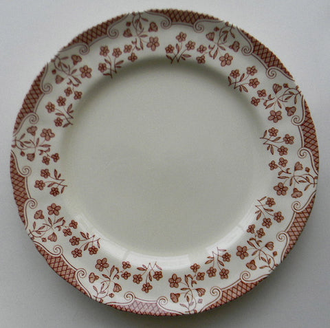 Brown and Cream Transferware Plate Floral Chintz Border Masons England Cambric Salad Plate