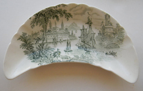 Green Transferware Crescent Bone Dish  Seaport Ship Scene Safe Harbor Staffordshire as seen with Caviar Taco Dish at Rose.Rabbit.Lie