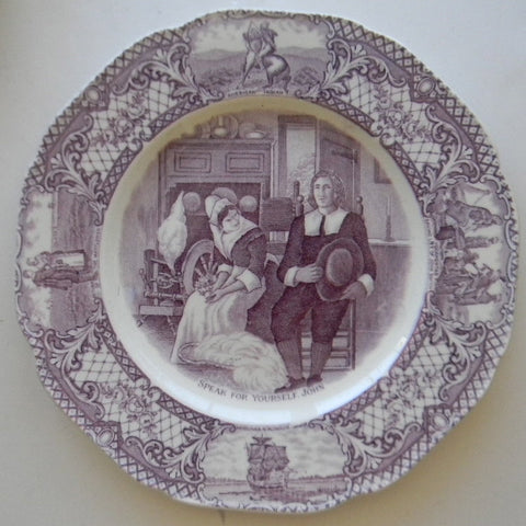 Purple Transferware Octagon Shape Plate Colonial Times - Speak For Yourself John - / American History / Historical Staffordshire